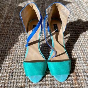 Zara color block ankle strap sandal 💚💙